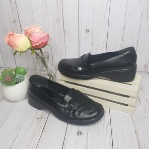 Clarks Black Leather Loafer Mules